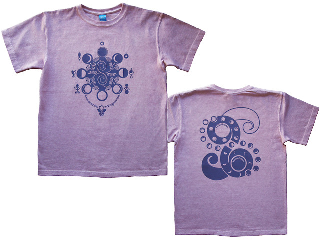 hinolismo-Lua-月の満ち欠けTシャツ半袖-ライラック-ブラジルと日本をTシャツでデザインするお店ヒノリズモ